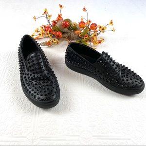 Steve Madden Black Studded Hyde Loafers SZ 7